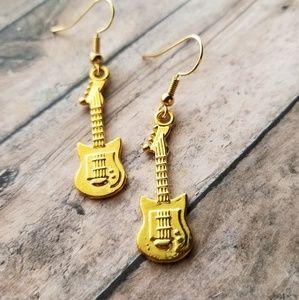 Gold Guitar Dangle Earrings